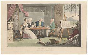 Rowlandson/Combe : Dr. Syntax/Artist's Room. Aquatint, original hand-coloured, 1821 // Wasserburger Antiquariat Christine Schmid // www.christl-schmid.de