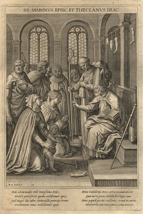 De hellige Marinus og Declan, kopperstikk fra Matthaeus Rader SJ: Bavaria Sancta, 1624